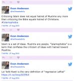 Evan Anderson Tweets (Islamophobia)